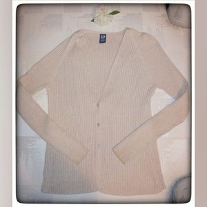 Gap Oatmeal Ribbed 3 Button Cardigan Sz L